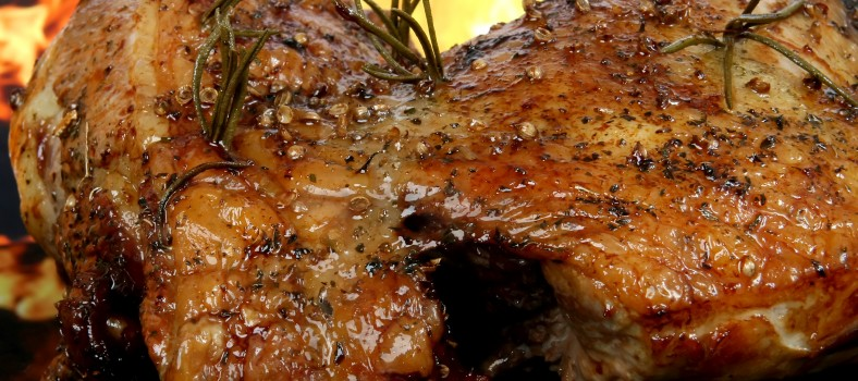 Traditional English wine-marinade roast by romantic fire
